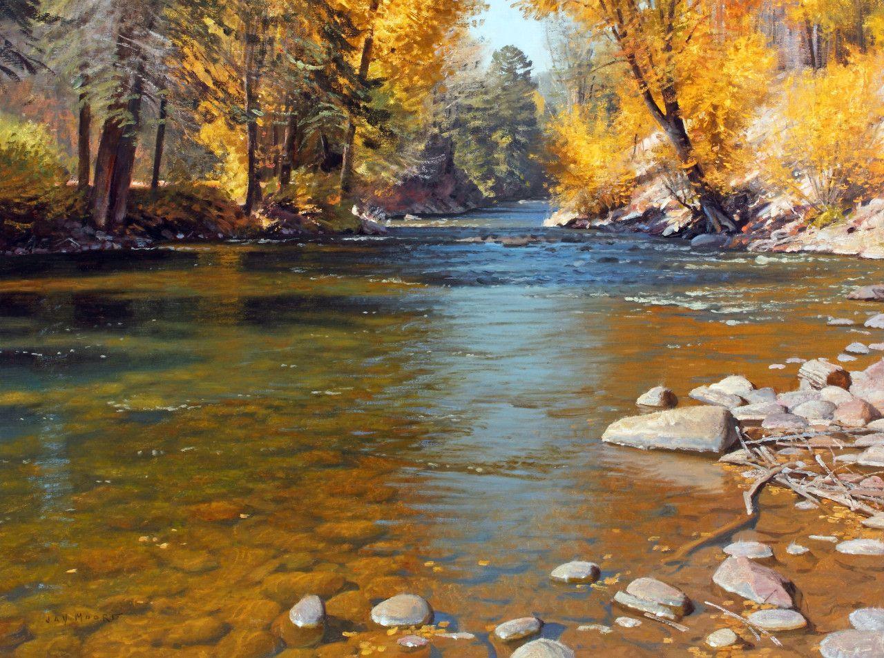 Autumn current colorado landscape painting landscape