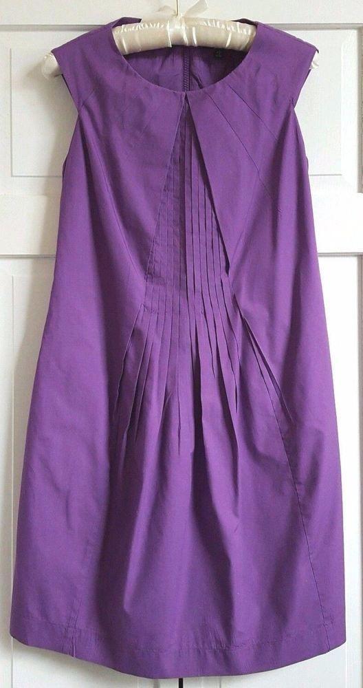 SAKS FIFTH AVENUE Dress Size 2 Purple Cotton Cap Sleeve Knee Length ...