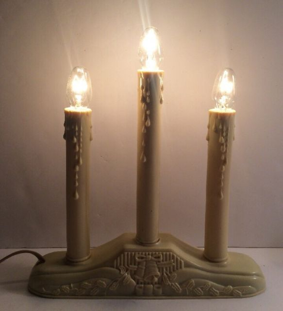 3 Candle Candolier Christmas Window Electric Lights eBay