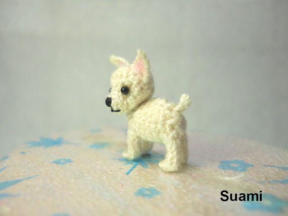White Chihuahua Dog - Tiny Amigurumi Micro Crochet Miniature Pets ...