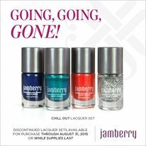 If you like this lacquer set, you must order before August 31, 2015 at 10:59 CDT. https://jgjam.jamberry.com/