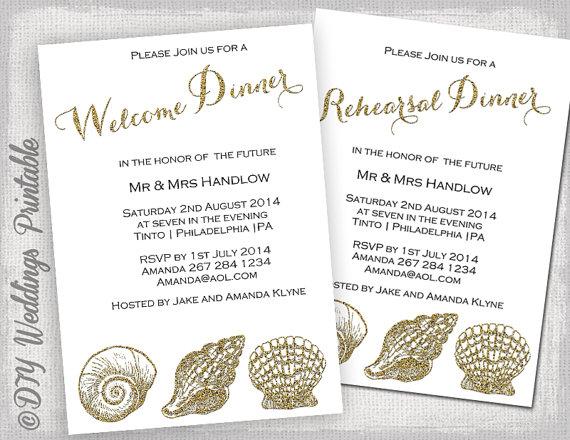 Rehearsal Dinner Invitation Template Welcome Invite Gold
