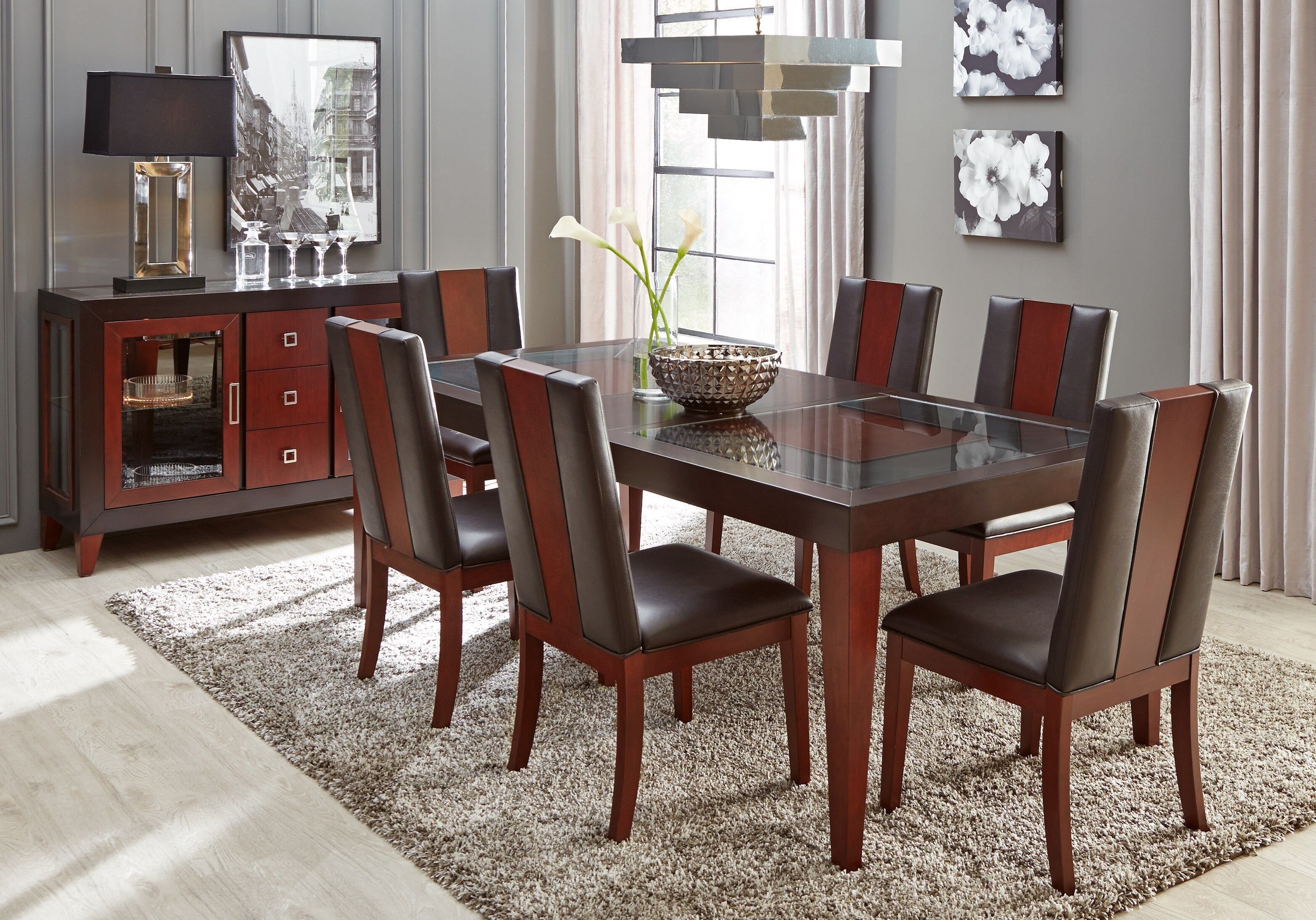 Sofia Vergara Savona Chocolate 5 Pc Rectangle Dining Room With