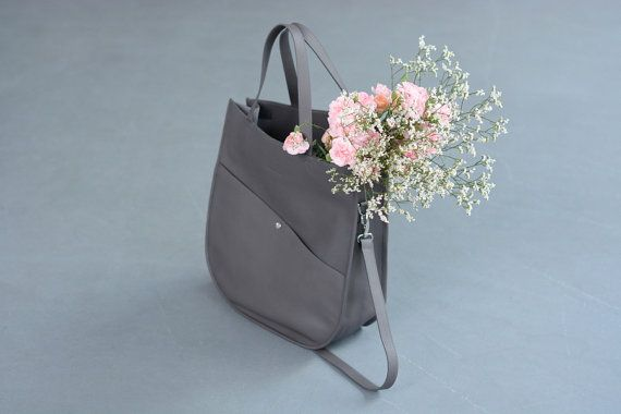 Gray Leather Tote Oversized Tote Bag Leather by morelebags on Etsy