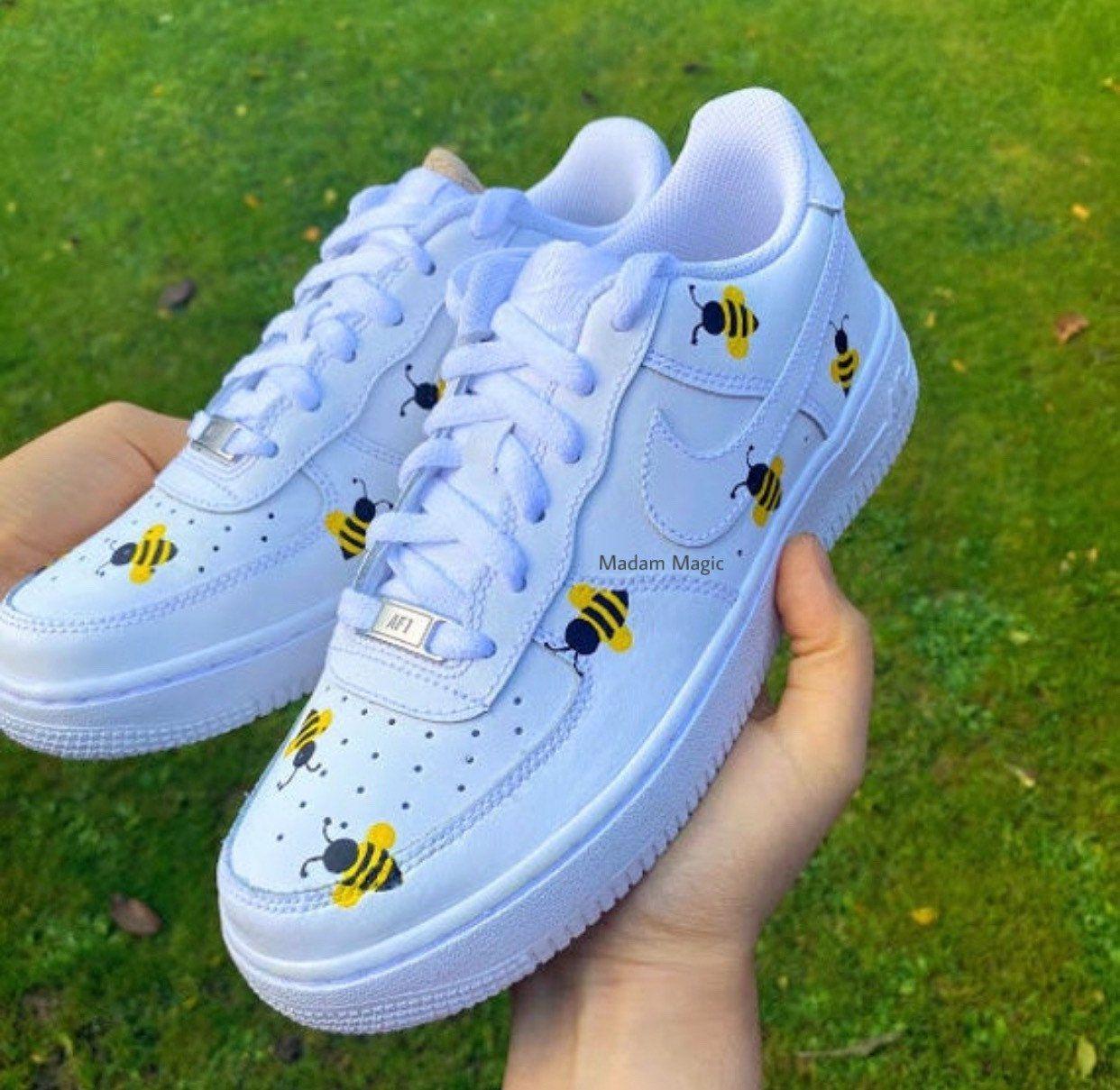 Hand Painted Custom Nike Air Force 1 Low Bee Air Force Custom Sneakers Custom Trainers Made to Order
