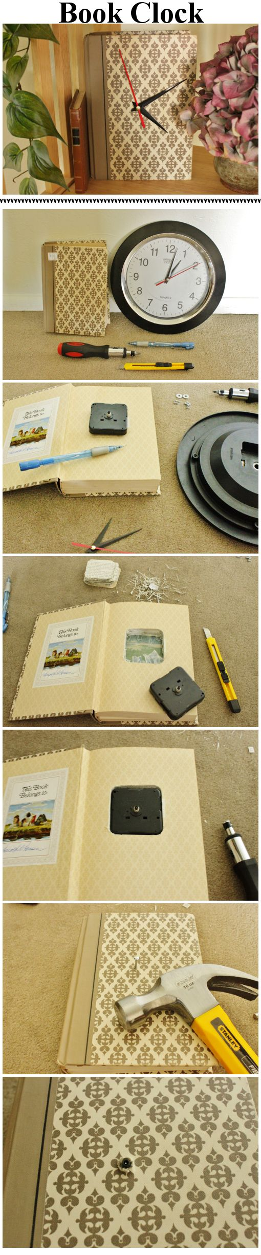 Dollar Store clock and DI book combine into a custom DIY clock for ...