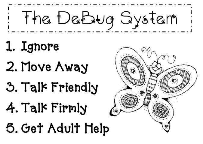 """When another student is """"bugging"""" them: ignore/move away/talk friendly/talk firmly/get adult help"""