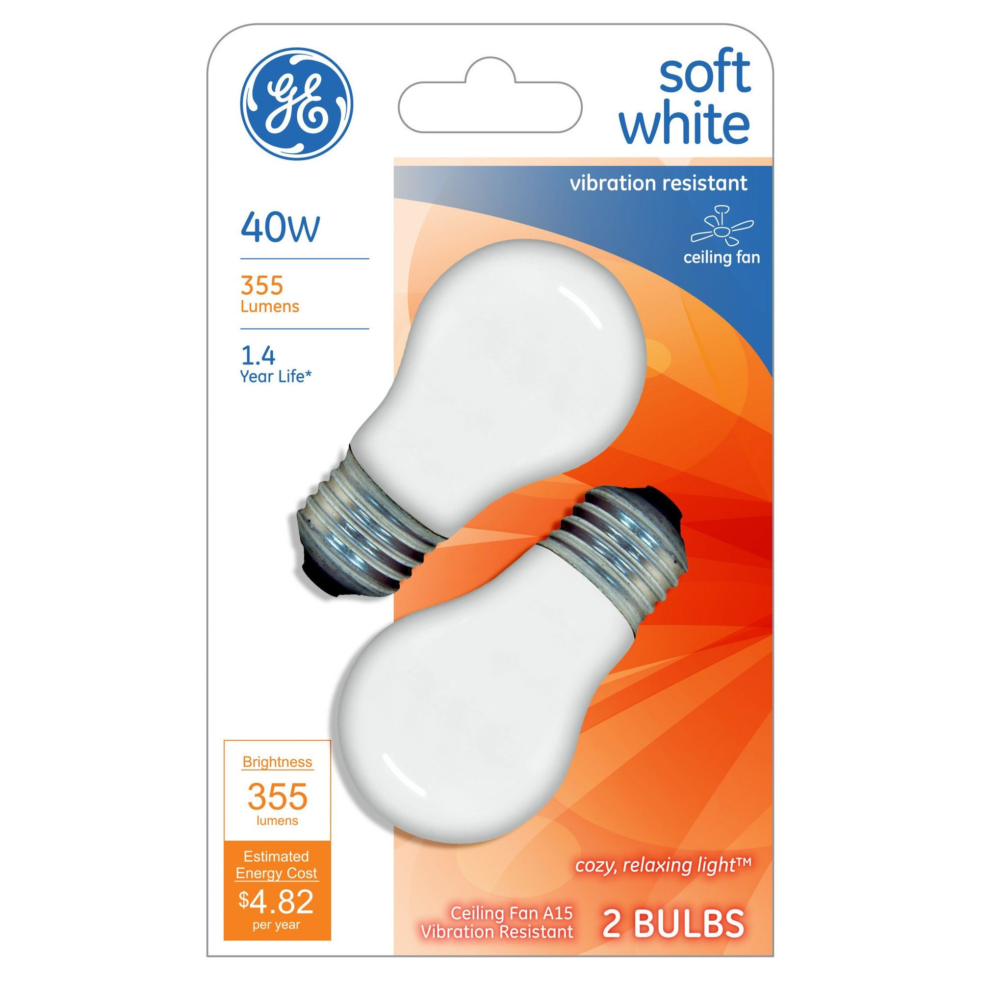 GE 40 Watt Ceiling Fan Incandescent Light Bulb 2 Pack Soft