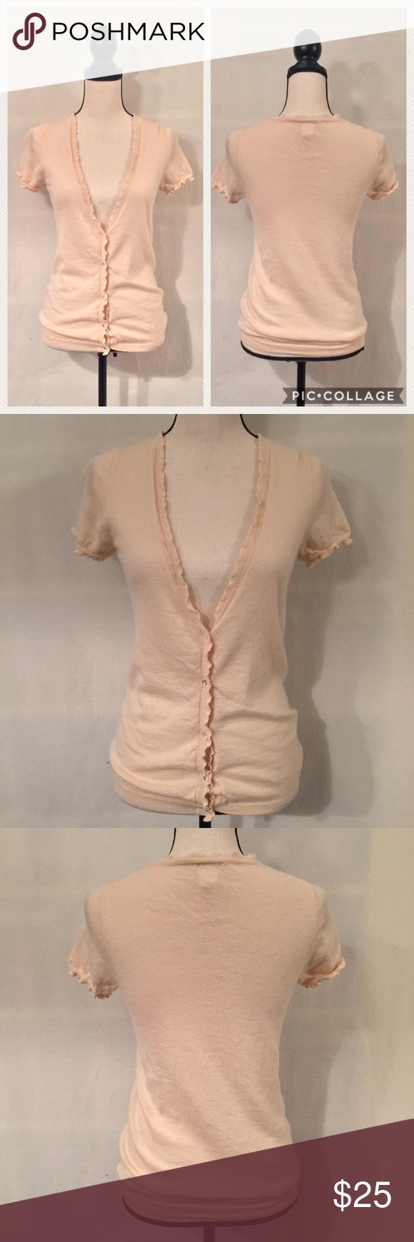 J. Crew cashmere short sleeve ruffle cardigan | Sweater cardigan ...