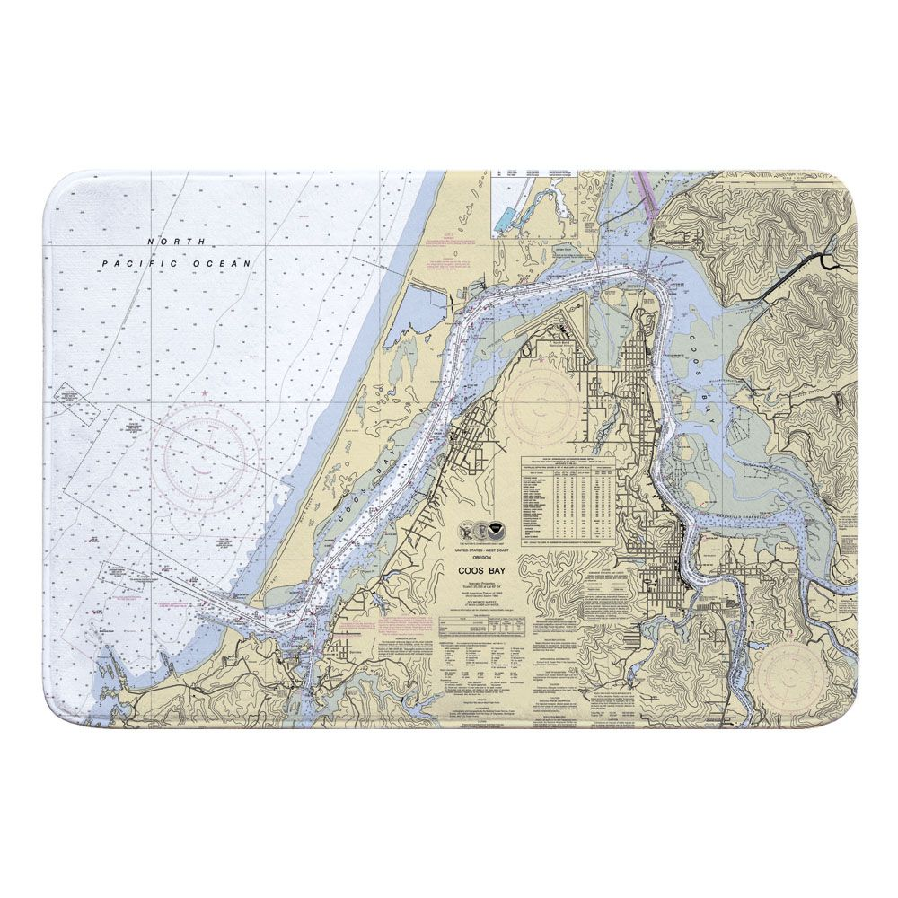 Or Coos Bay Or Nautical Chart Memory Foam Bath Mat Nautical Chart Memory Foam Bath Mats Memory Foam Bath Rugs