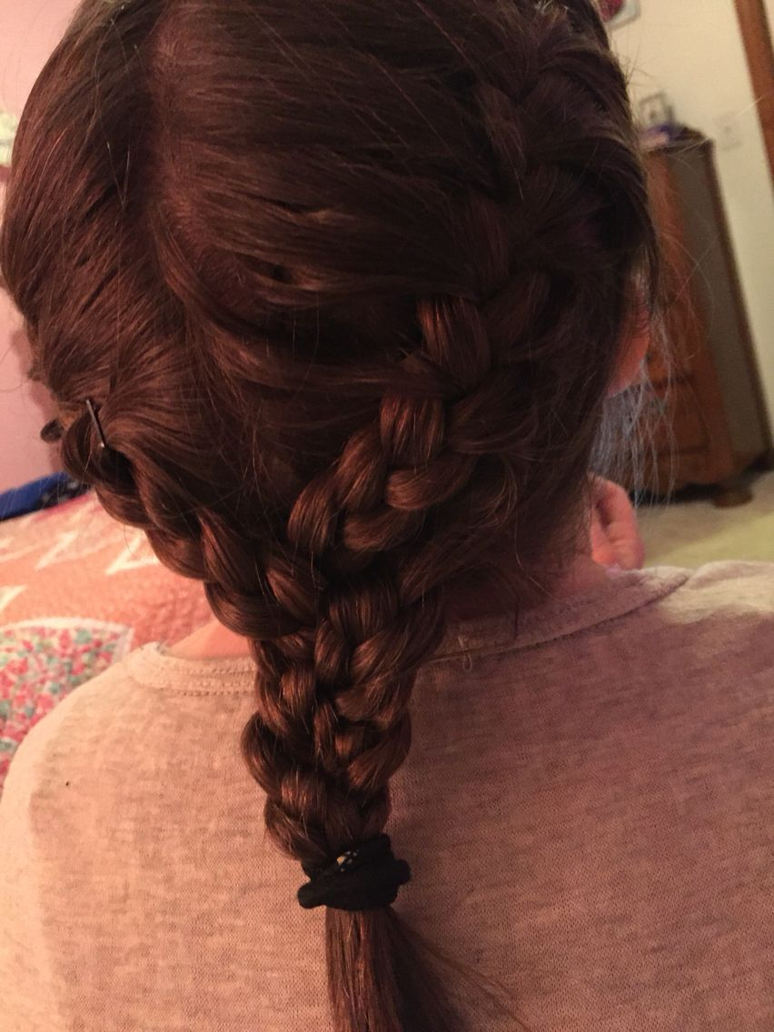 French 1 French Braid Both Sides Of Hair And Leave Some In The Middle Bottom Of Head 2 Braid Normally The Leftov Hair Styles French Braid 2 Braids