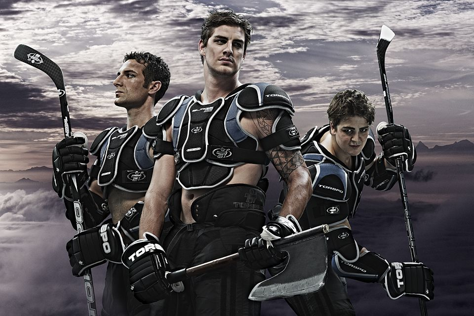 Nicely cut in to great backdrop      Christoph Stöh Grünig : Client: Biel-Bienne Ice Hockey Club - new campaign shoot, Advertising Agency: weiss communication+design