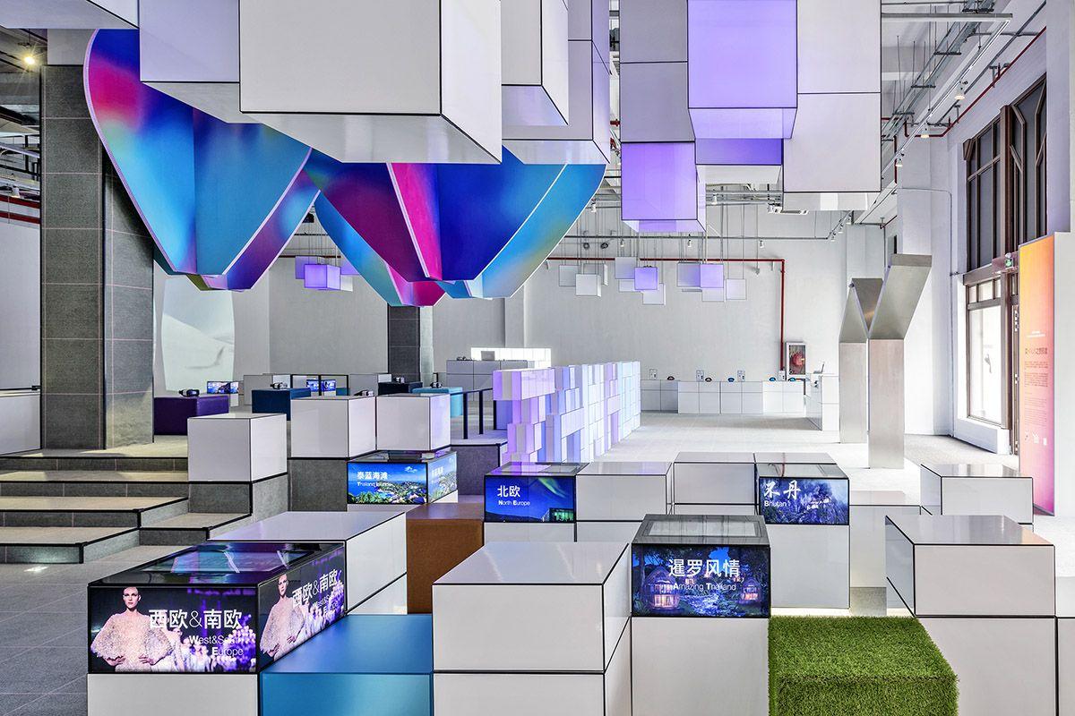 shishang architecture designed multi tech interior with pixelated islands for zanadu travel company - Pixelated Interior Design