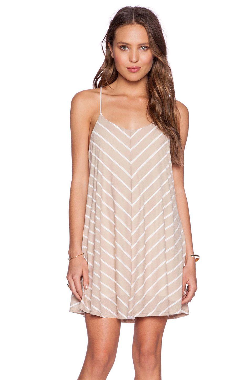 De Lacy Sybil Stripe Mini Dress in Taupe