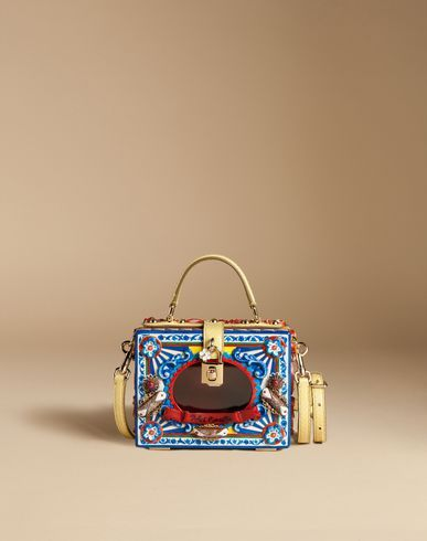 3b5b6f19dca1 DOLCE   GABBANA Dolce Box Pasticceria Bag In Hand-Painted Wood.   dolcegabbana  bags  lining  shoulder bags  pvc  suede  hand bags  silk