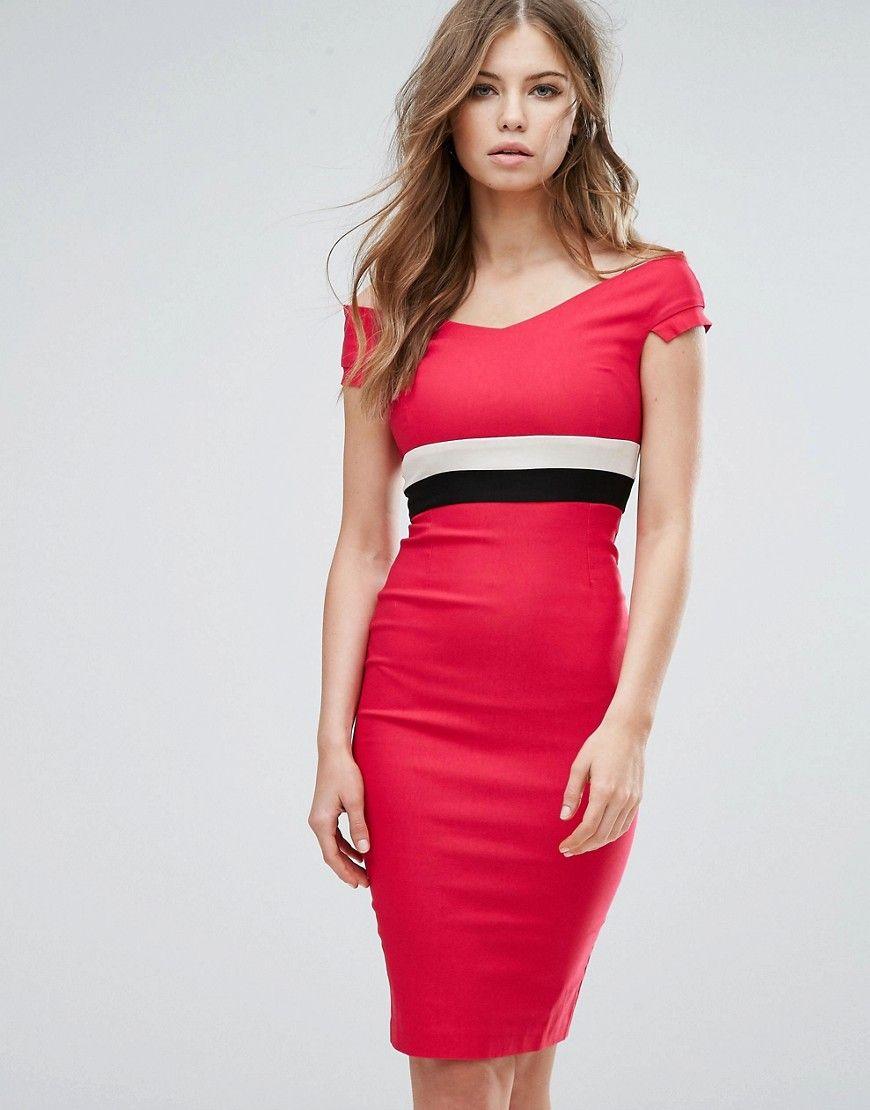 Visit Outlet Huge Surprise Pencil Dress With Contrast Waist Band - Pink Vesper Cheap For Nice Free Shipping Affordable 7bb4Lr5KV