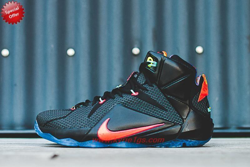 Black/Bright Mango Hyper Punch Volt Nike Lebron 12 684593 068 For