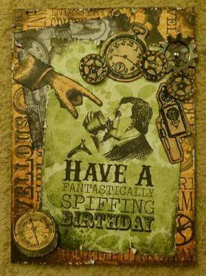 Of Unknown Provenance Seems Like Tim Holtz Stamps Steampunk Cards Cards Birthday Cards