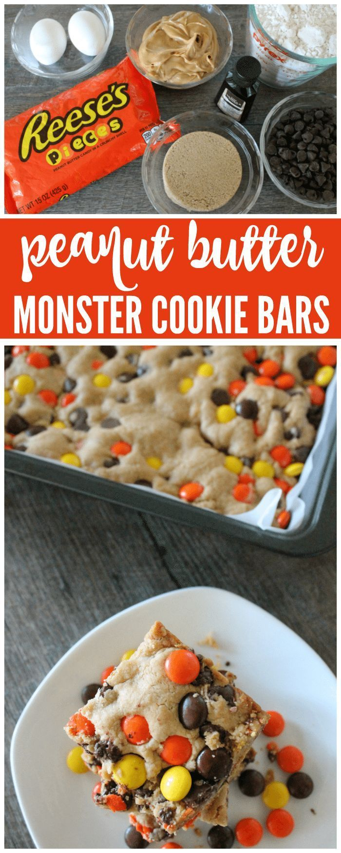 Butter Monster Cookie Bars are the perfect Summer Dessert full of Chocolate Peanut Butter goodness in a chewy cookie recipe.
