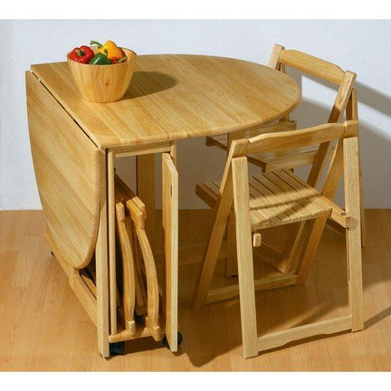Stylish Folding Dining Table And Chairs Set Foldable Rubberwood Combined With Wooden