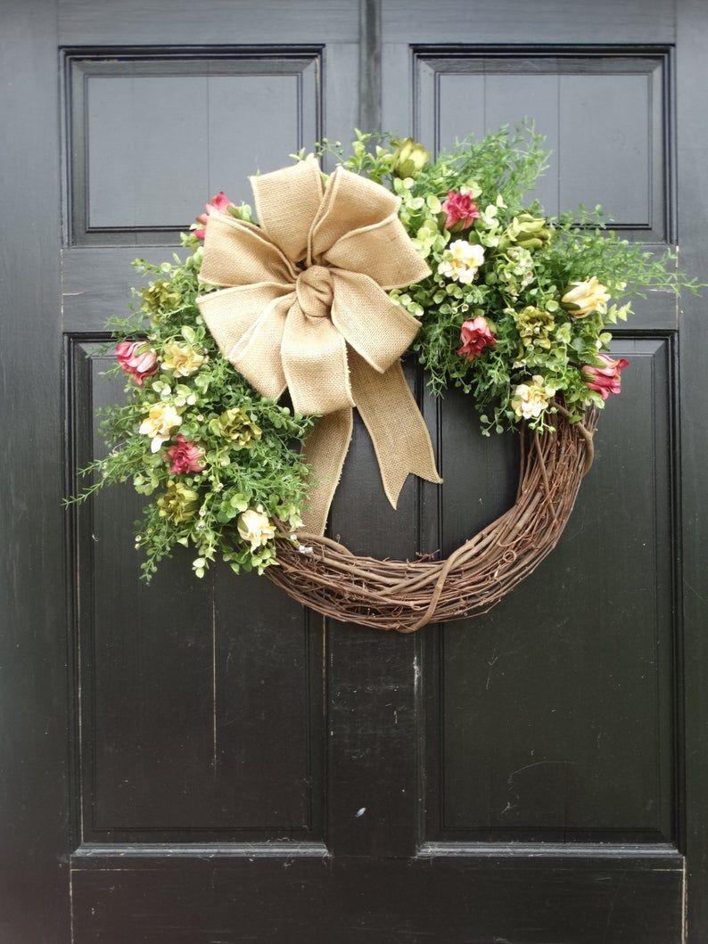 Photo of Spring Dahlia Bud and Mixed Greenery Grapevine Wreath, Summer Wreath, Farmhouse Wreath, Spring Wreath, Greenery Wreath, Eucalyptus Wreath