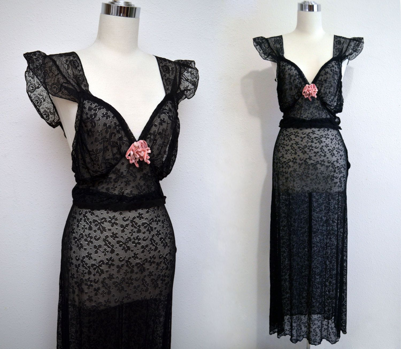 Vintage s black lace lingerie set s skirt u top by beau