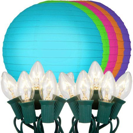 Paper Lanterns Walmart Amazing Lumabase Electric String Lights With 10 Inch Paper Lanterns Multi Design Decoration