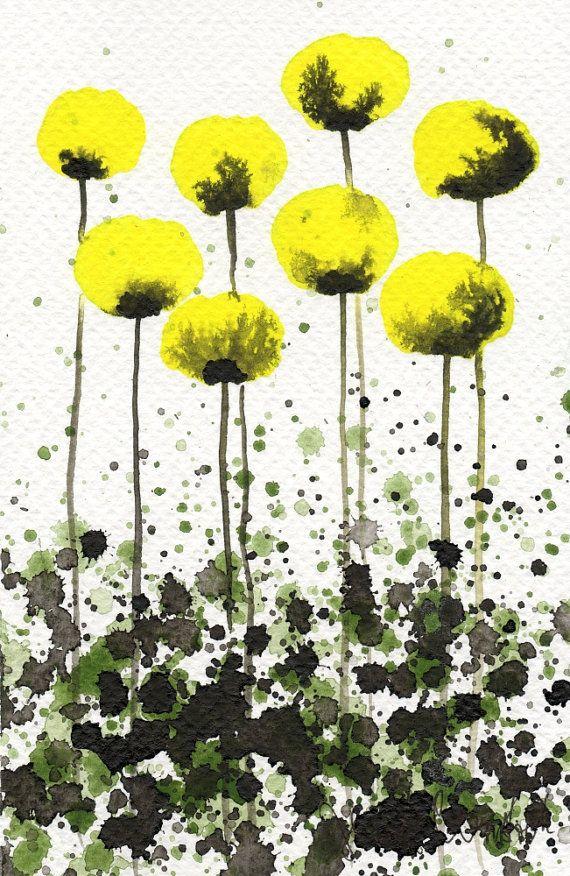 Peinture A L Aquarelle Aquarelle De Fleurs Coquelicots Jaunes