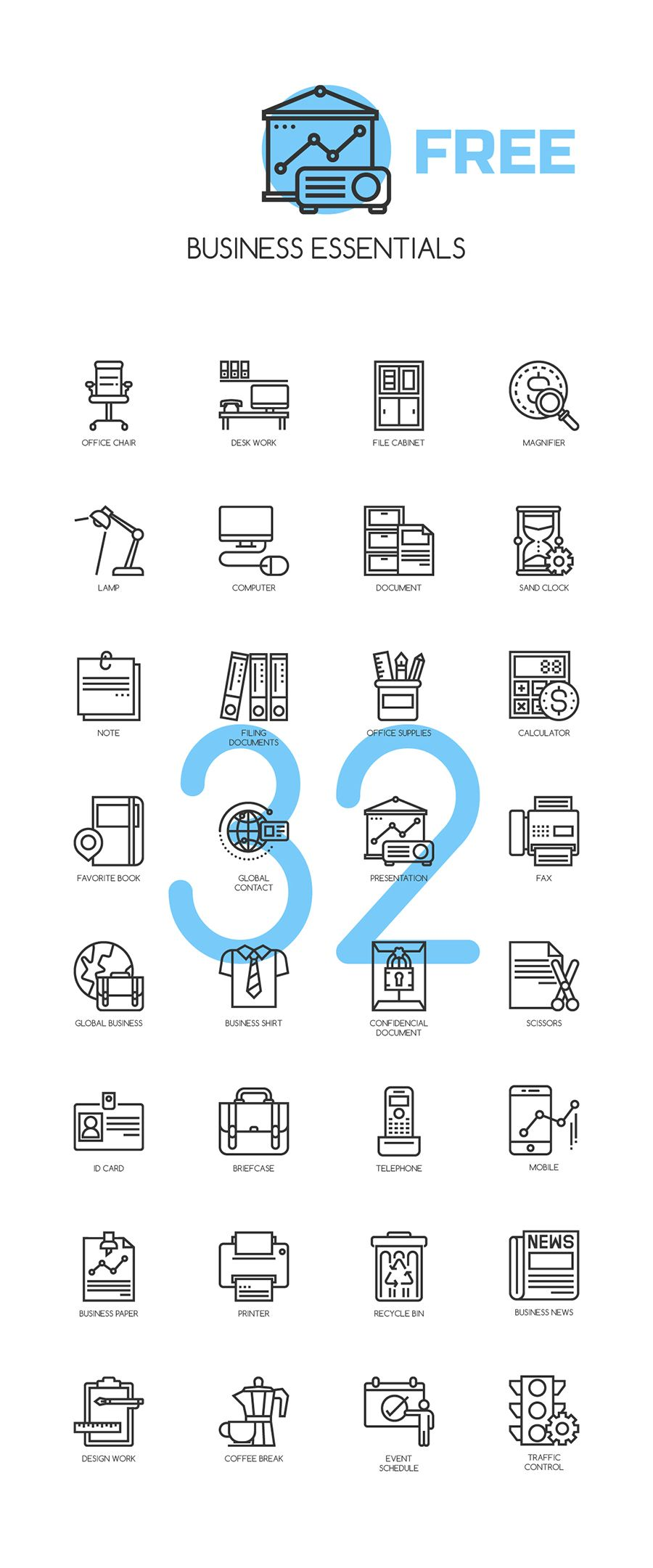 Free 32 Business Essentials Icons | Business essentials, Icons and ...