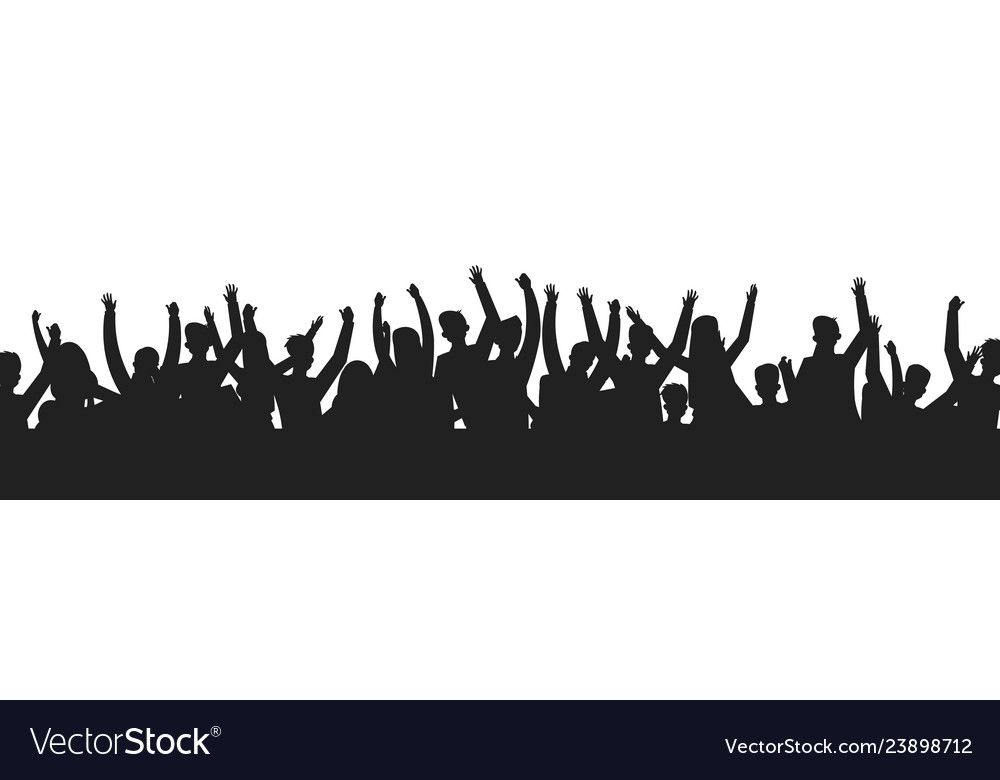 Dancing People Crowd Silhouettes Concert Audience Dance Party Show Stage Shadow Contour Vector Sport Event Fans Group Dow People Crowd Shadow People Concert