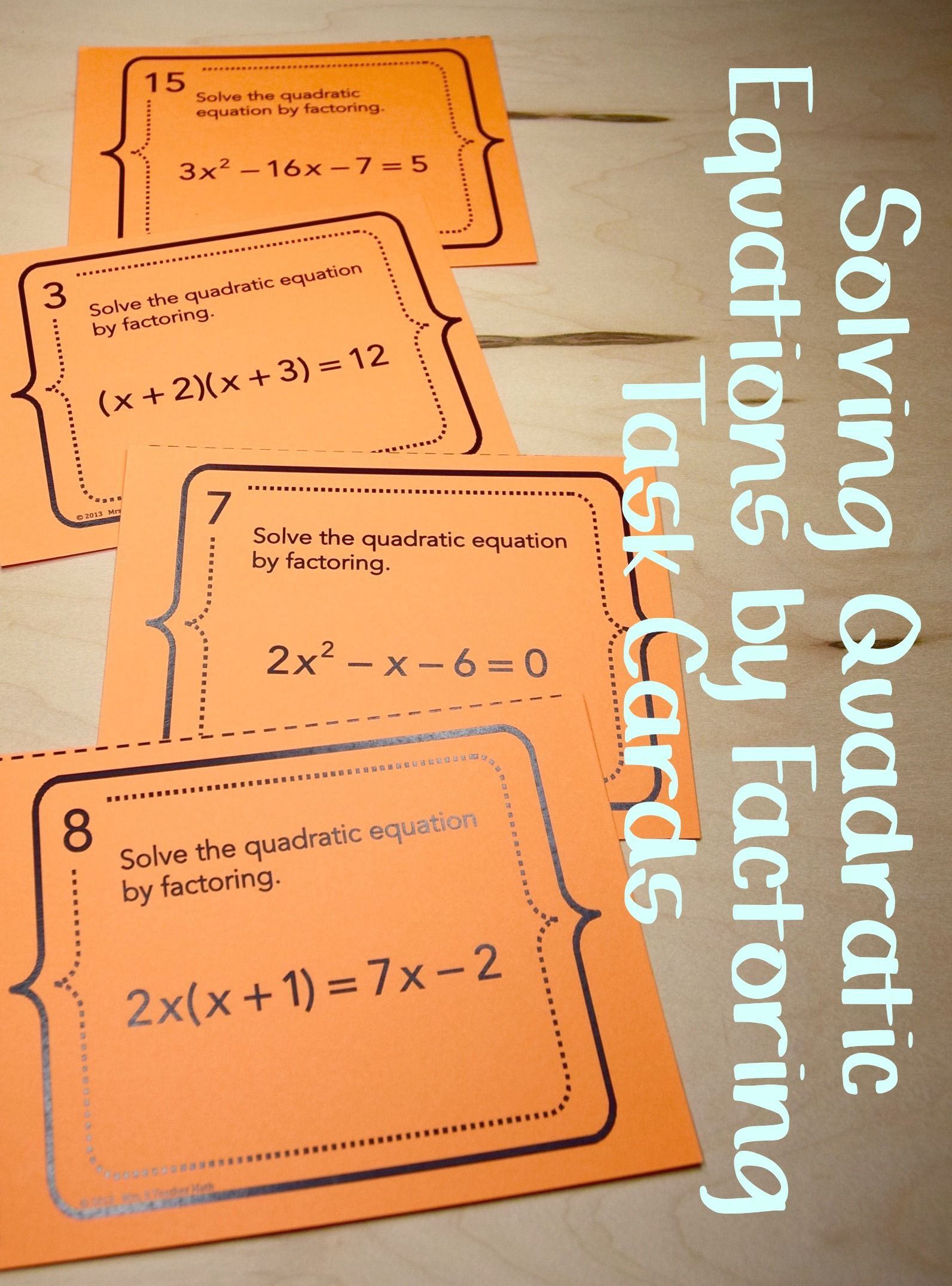 Solving quadratic equations by factoring task cards factors solve quadratic functions by factoring task cards robcynllc Images