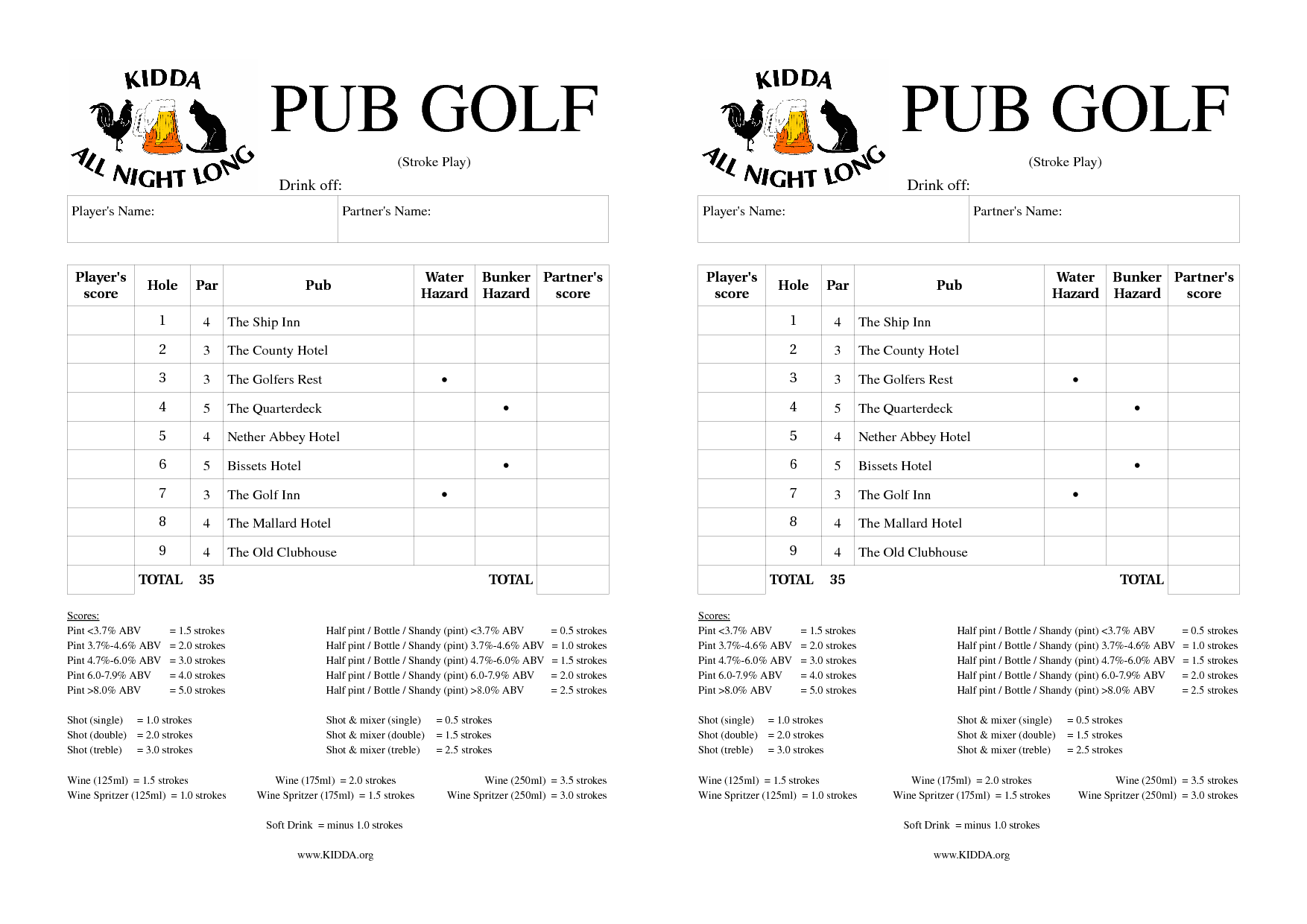 golf pub crawl scorecard   Party ideas   Pinterest   Pub ...