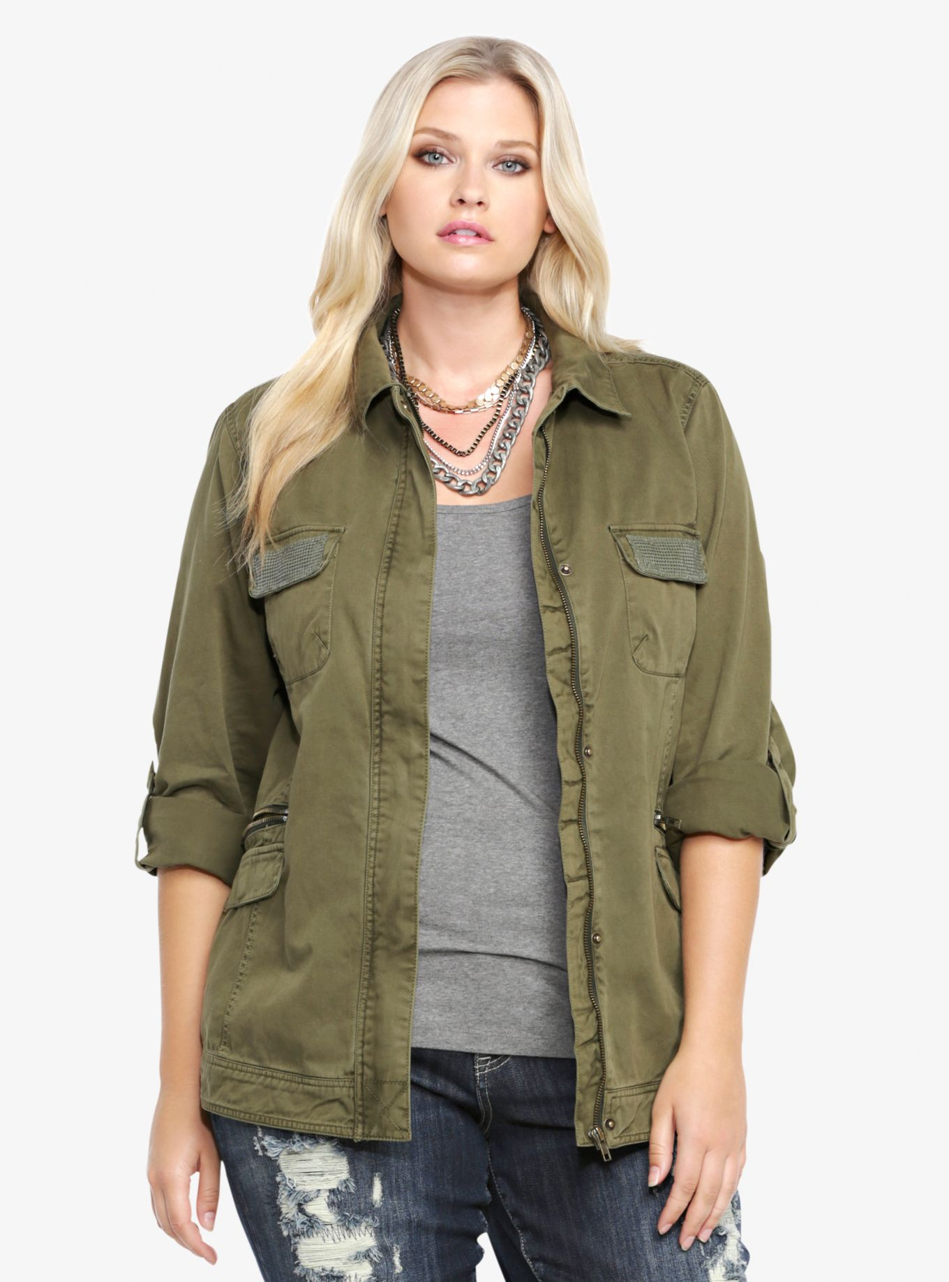 Green twill women's army jacket