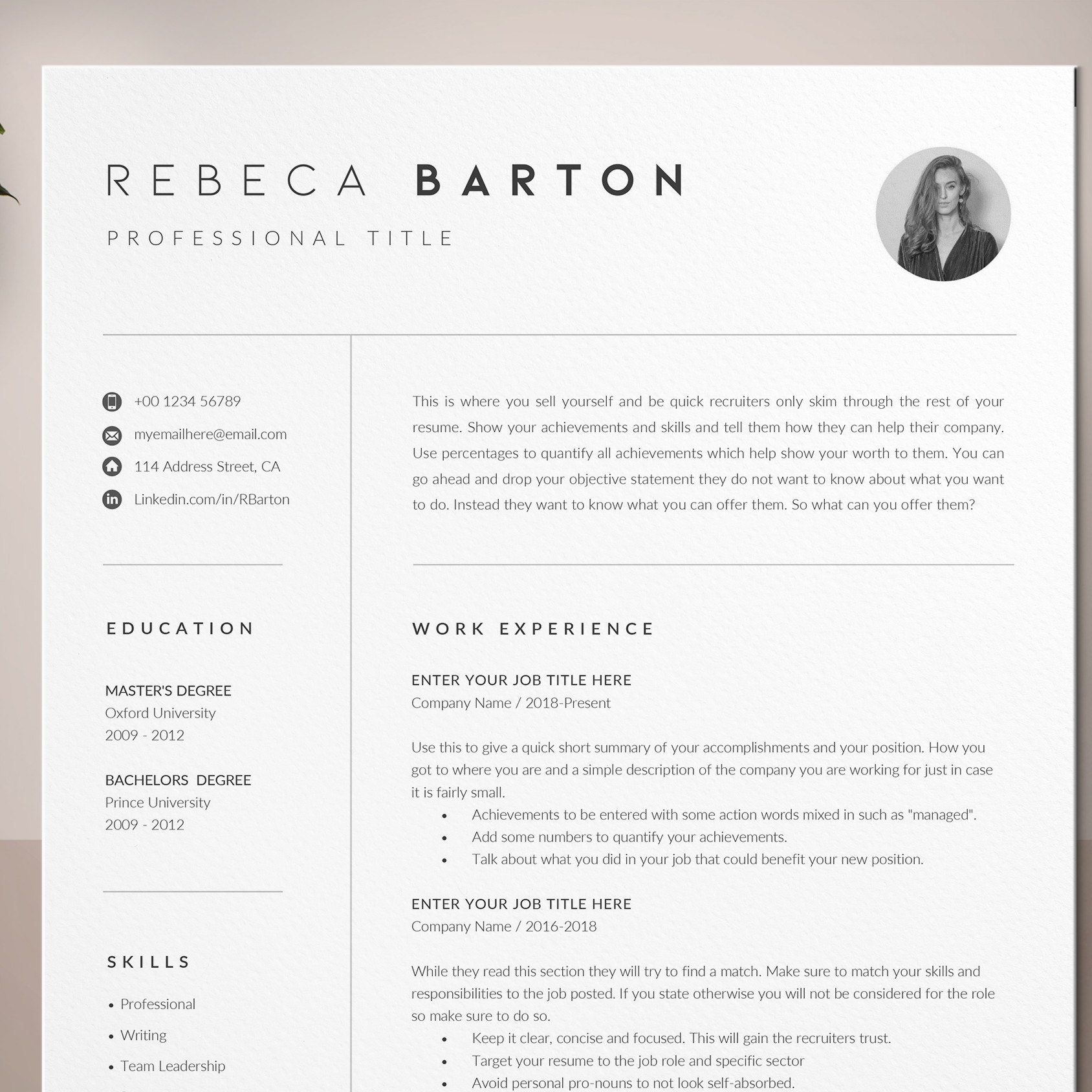 Resume Template Cover Letter And References CV Resume With