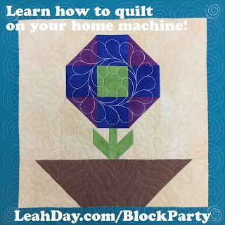 Are you ready to make a beautiful quilt this year while building amazing skills for quilt piecing, applique, and free motion quilting? It's time to join the Machine Quilting Block Party!  Click Here t