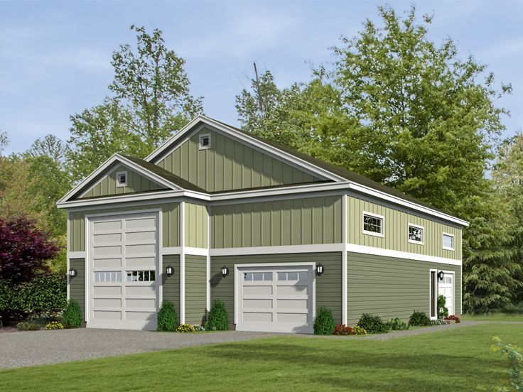 062g 0068 rv garage plan with tandem car bay and loft for 2 bay garage with loft