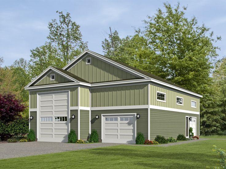 062g 0068 Rv Garage Plan With Tandem Car Bay And Loft Garage Plans Rv Garage Plans Rv Garage