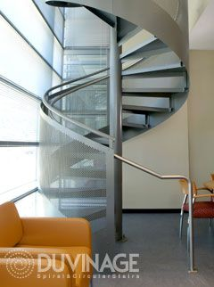 Best Custom Metal Spiral Staircases By Duvinage With Wood And 640 x 480