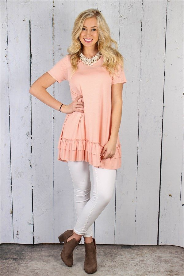 Short Sleeve Ruffle Tunics | 5 Colors