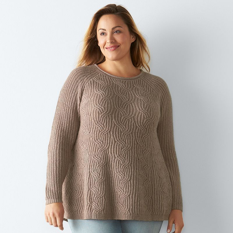 """13c5ccbfa07 Plus Size SONOMA Goods for Lifeâ""""¢ Cable-Knit Swing Sweater"""