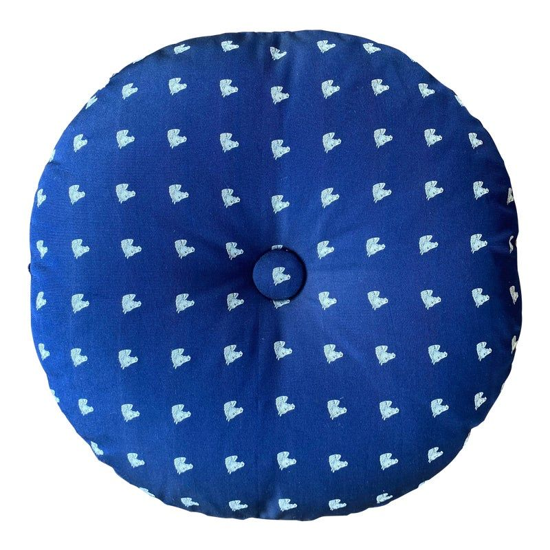 Silk Round Pillow With Button