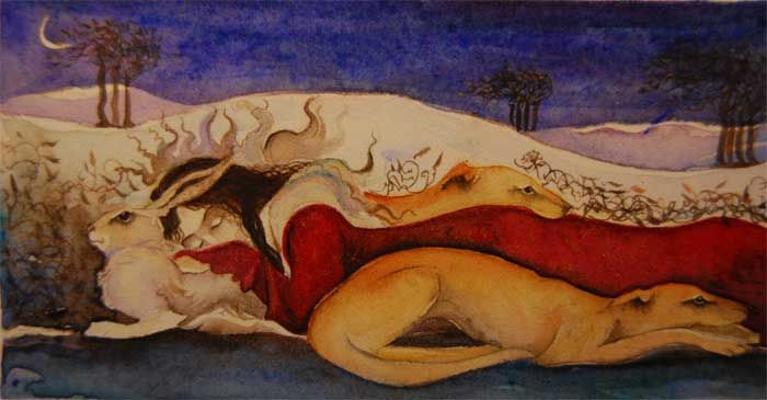 a spell for sleeping, small small watercolour of woman resting head on a white hare for a pillow, with two small lurchers coloured like sunshine.