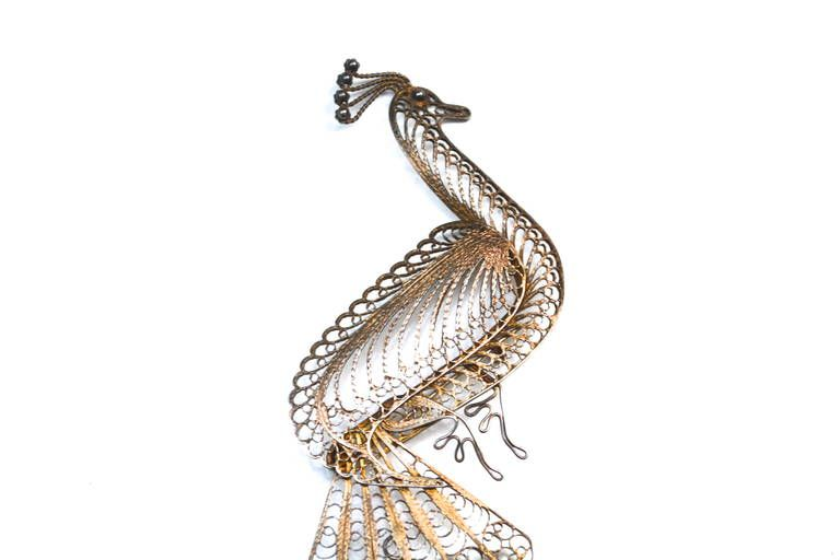 Antique Filigree Peacock Brooch / Large | From a unique collection of vintage brooches at https://www.1stdibs.com/jewelry/brooches/brooches/ photo 2/5