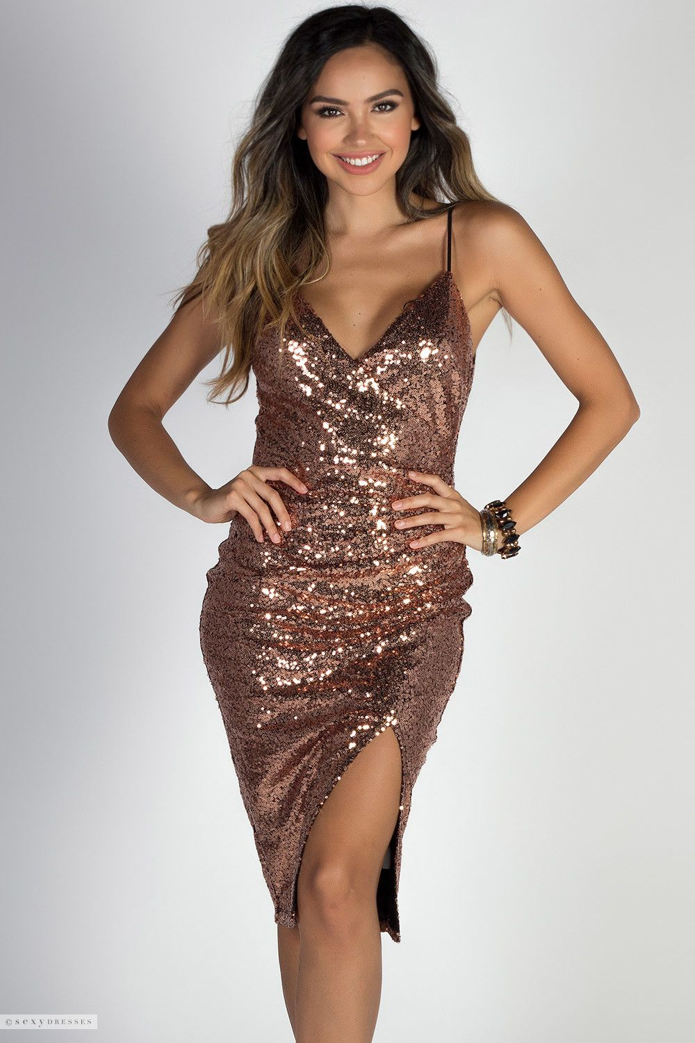 62cdcb60685 Fixed Wrap Strappy Knee Length Copper Sequin Dress with Thigh High Slit