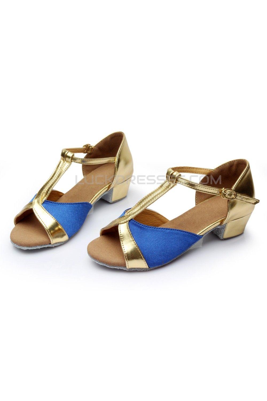 Women s Kids  Blue Satin Flats Latin Salsa T-Strap Dance Shoes Chunky Heels  Dance Shoes D601033 0dabfe4111