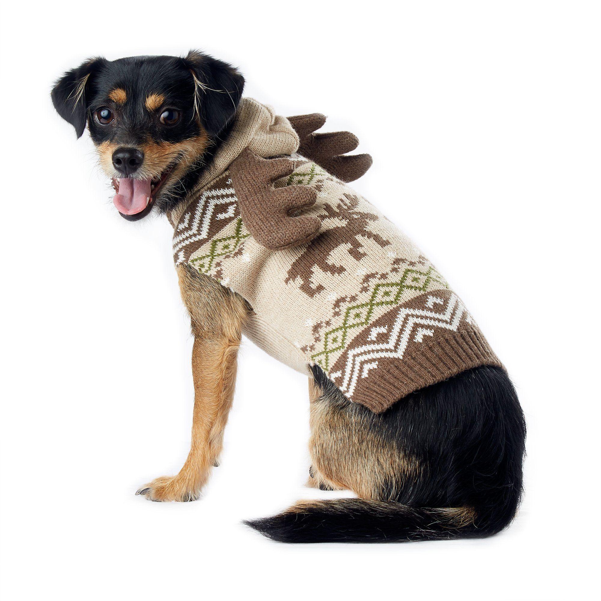 Wag-A-Tude Oat Moose Fair Isle Sweater with Antler Hood, XXSmall ...