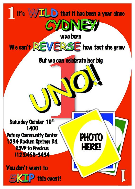 Uno Birthday Party Invitation By Pepprints On Etsy Boys