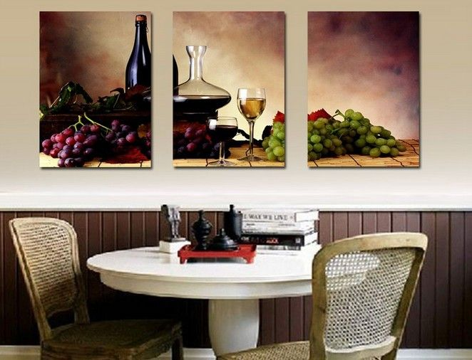 Grapes U0026 Wine Home Decoration Canvas Print Modern Wall Painting Art Set Of  3 Each (unframed)