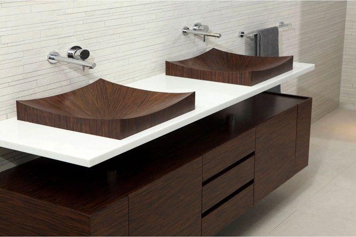 holzwaschbecken badezimmer gestalten holzoberfläche stylisch - dekoration für badezimmer