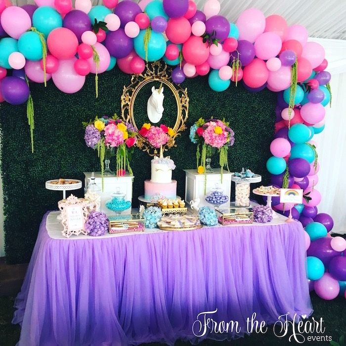 Vibrant Unicorn Birthday Party Unicorn Party Ideas Pinterest